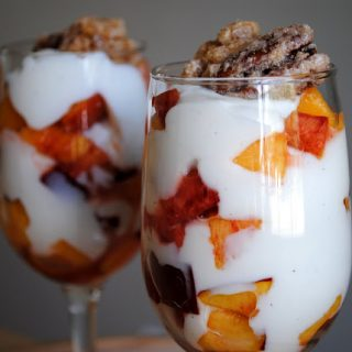 Vanilla Bean Yogurt and Nectarine Parfait with Candied Nuts