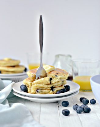 Lemon Blueberry Pancakes l SimplyScratch.com