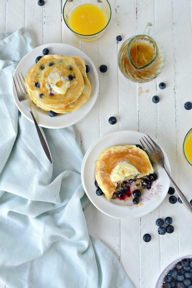 Lemon Blueberry Pancakes l SimplyScratch.com