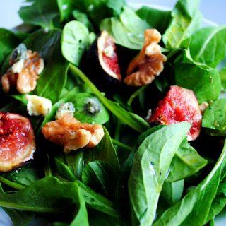 Arugula Salad with Fresh Figs & Blue Cheese with a Lemon Vinaigrette
