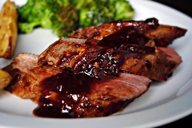 Chipotle Pomegranate Glazed Roasted Pork Tenderloin l SimplyScratch.com