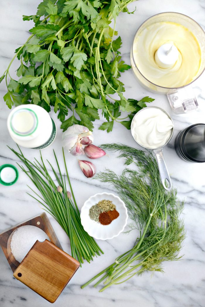 Ingredients for Buttermilk Ranch Dressing