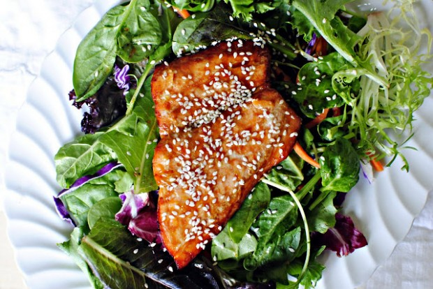 Orange Glazed Salmon Salad l SimplyScratch.com
