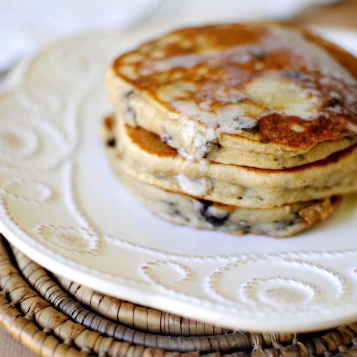 Basil Chocolate Chip Ricotta Pancakes