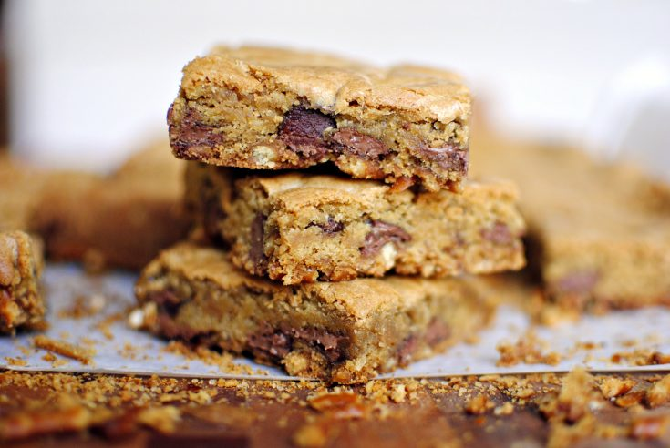 Chocolate Chip Bars with a Salty Pretzel Crust