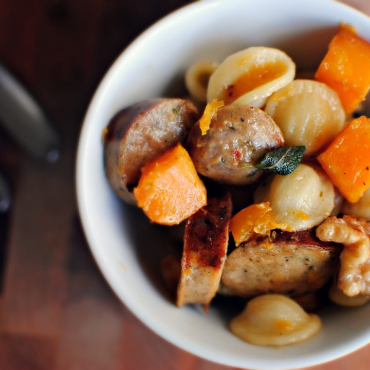 Roasted Butternut Squash, Sausage and Orecchiette Pasta in a Brown Butter Sage Sauce