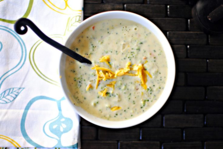 Simple Broccoli and Cheddar Soup with Warm Ham & Cheese Sammies