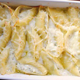 Lemon-Basil Ricotta Stuffed Shells in a Champagne Cream Sauce
