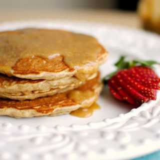 Whole Wheat Banana Oatmeal Pancakes with Peanut Butter Maple Syrup