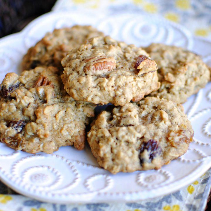 Toasted Pecan & Rum Raisin Oatmeal Cookies