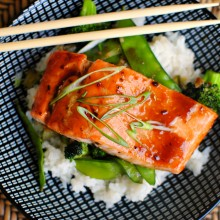 Honey-Teriyaki Glazed Salmon with Stir-Fry Veggies
