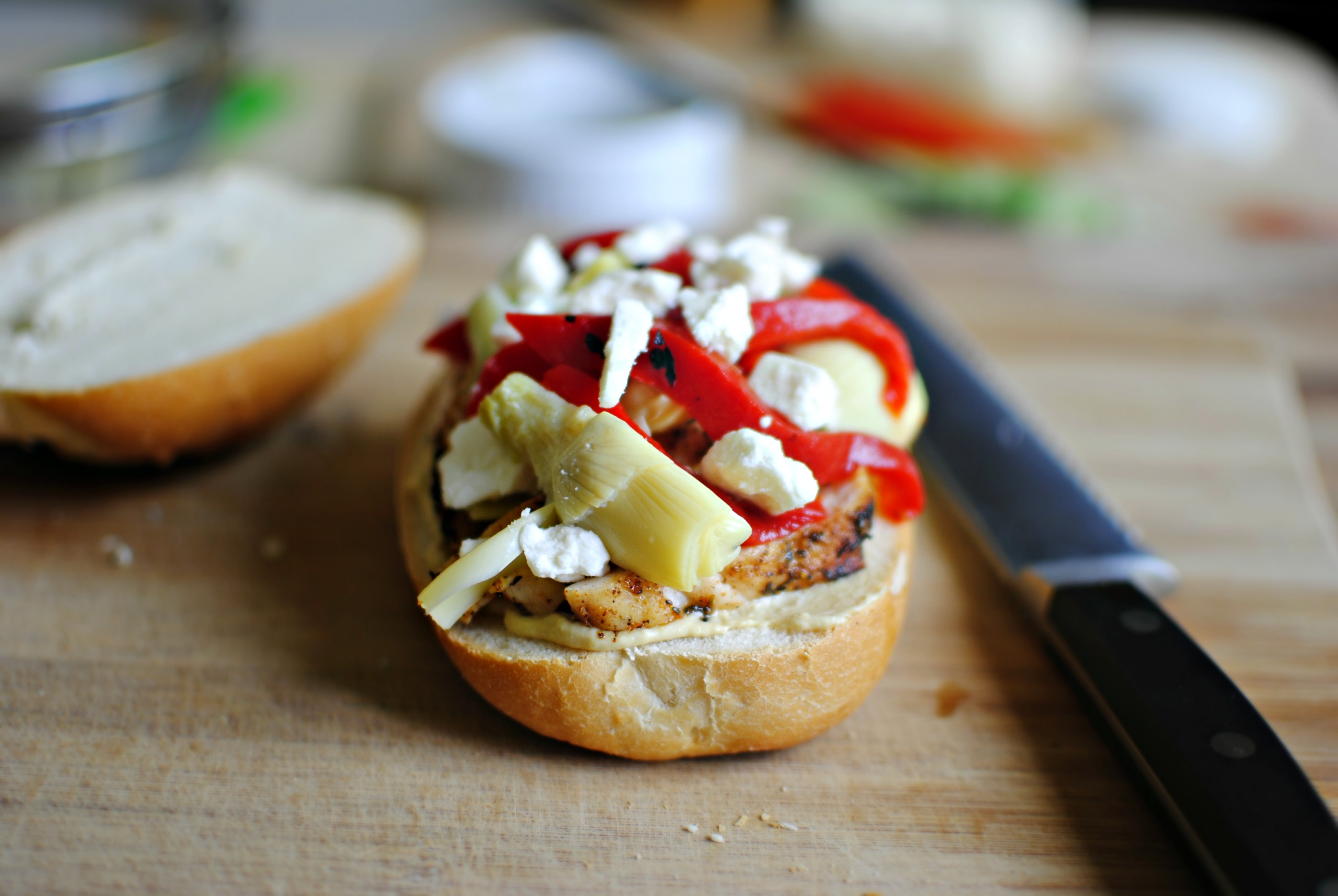 Simply Scratch » artichoke hearts, roasted peppers and feta