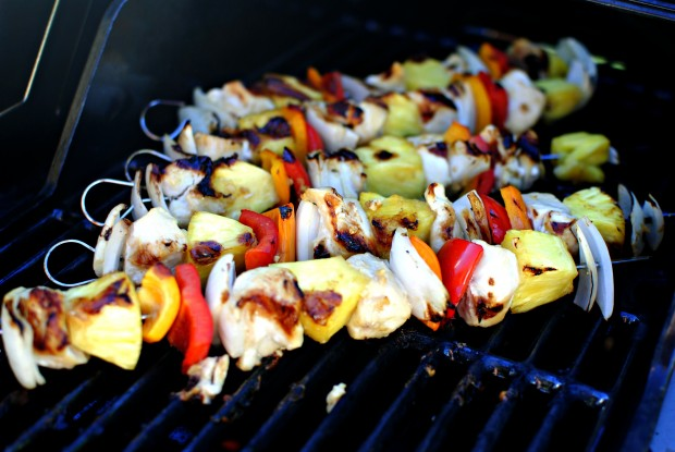 Grilled Hawaiian Chicken Kebabs l SimplyScratch.com
