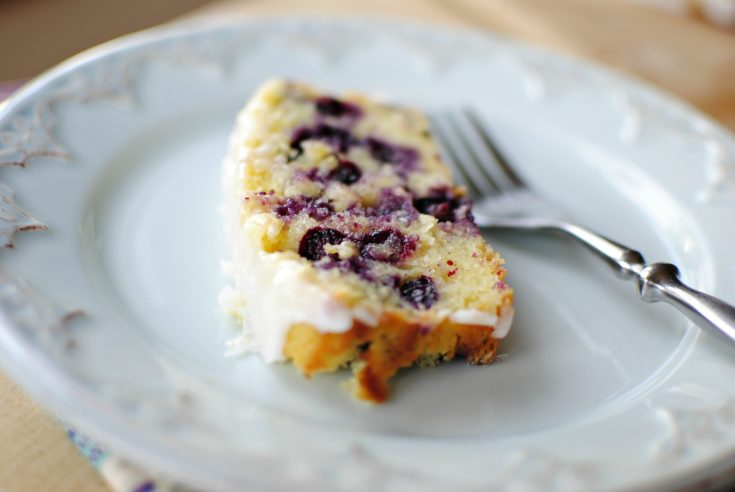 Lemon Blueberry Cake Loaf with Buttermilk Icing