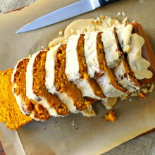 Ginger Pumpkin Loaf with Brown Butter Maple Icing
