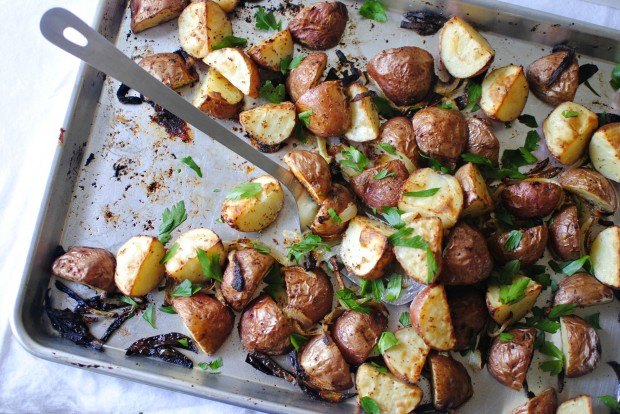 Simply Scratch » Crispy Garlicky Mustard Roasted Red Skin Potatoes