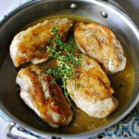 Crispy Skinned Pan-Roasted Chicken Breasts + Rosemary Thyme Pan Sauce