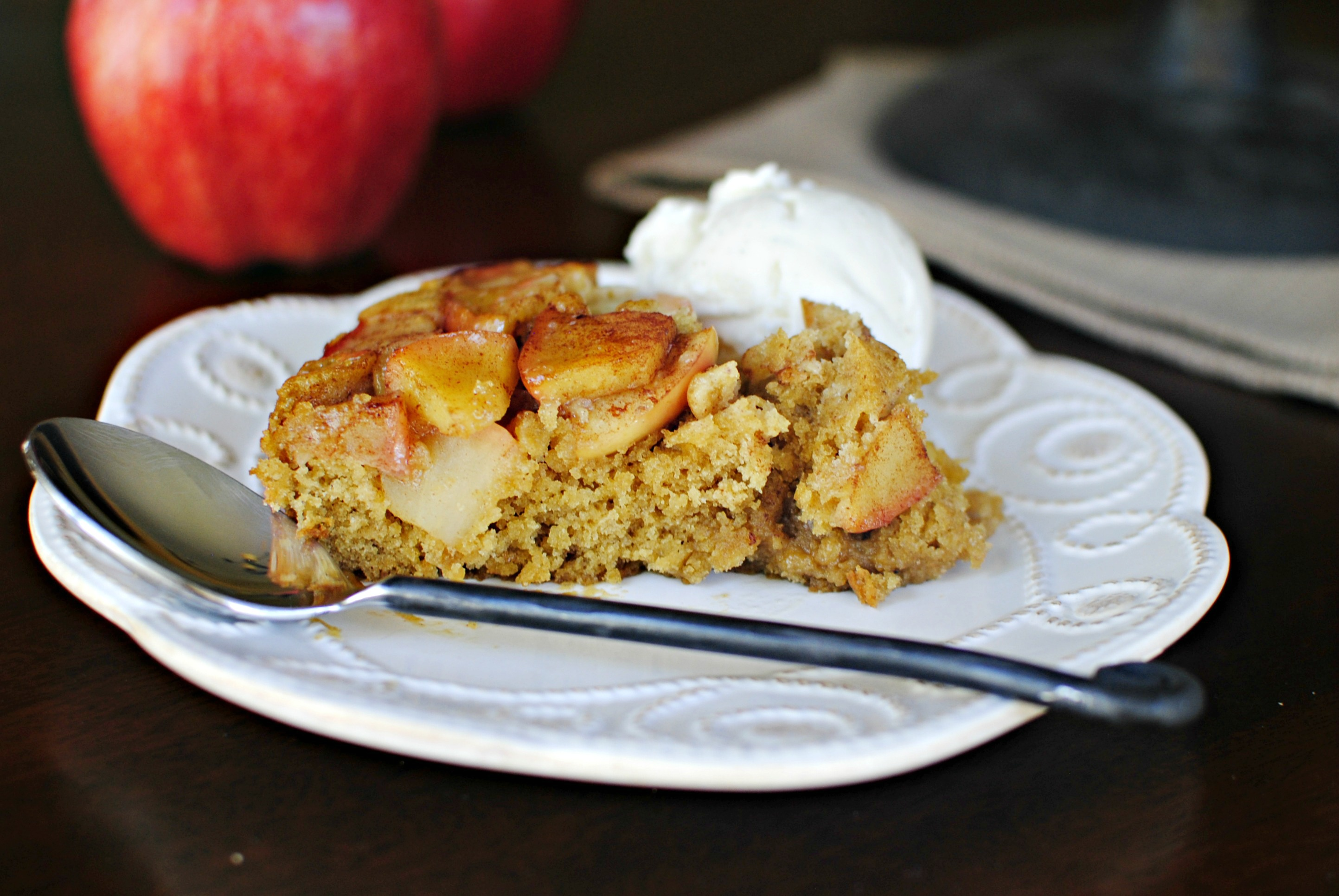 Simply Scratch Upside-down Apple Cinnamon Honey Cake - Simply Scratch