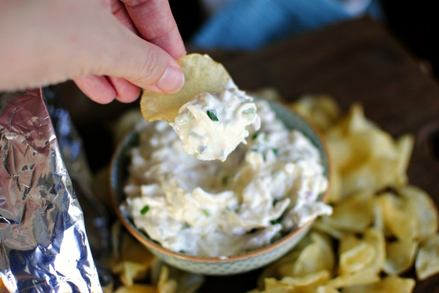 Cheesy Roasted Garlic Chip Dip l SimplyScratch.com