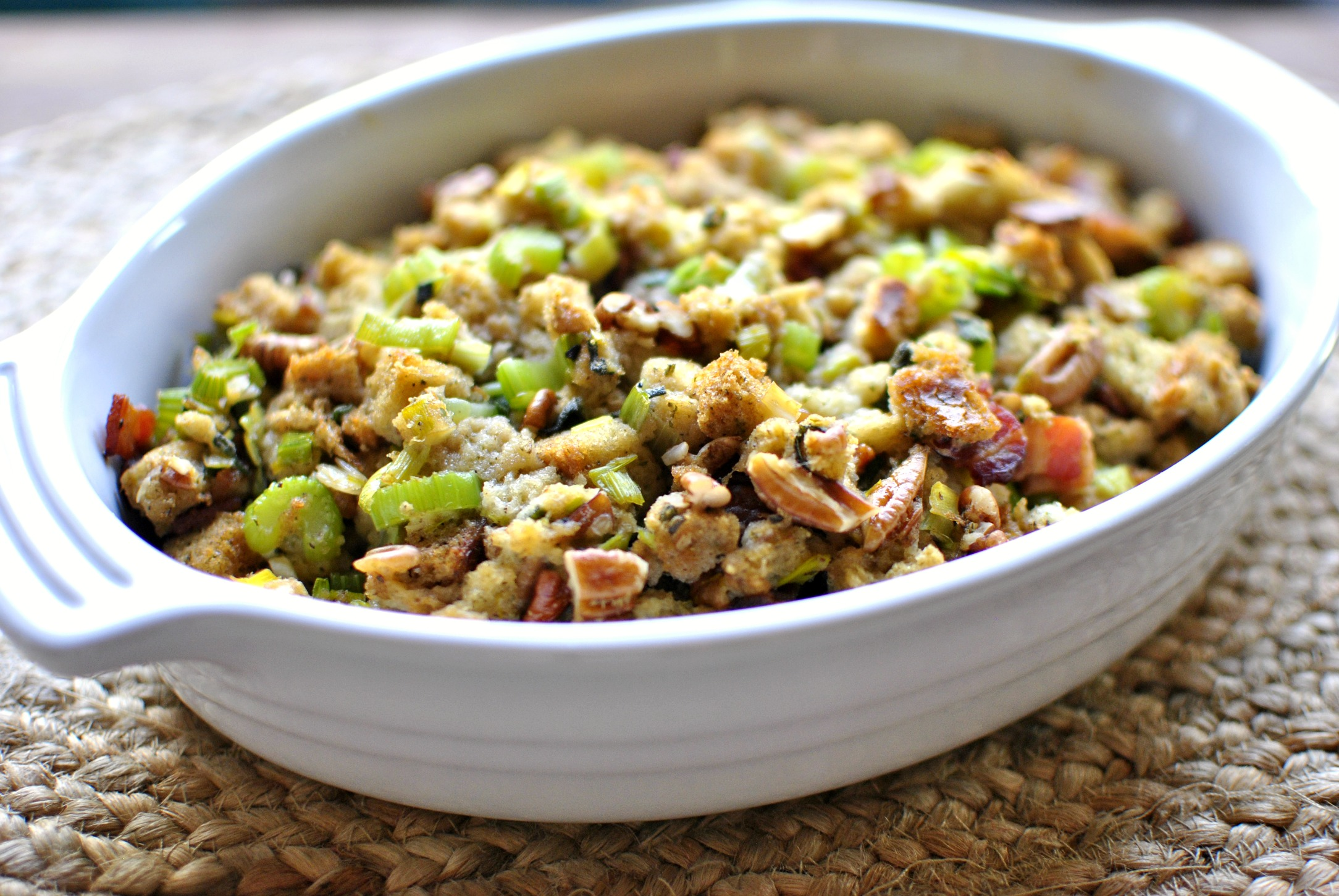 Simply Scratch Bacon Leek Stuffing with Sage and Pecans - Simply ...