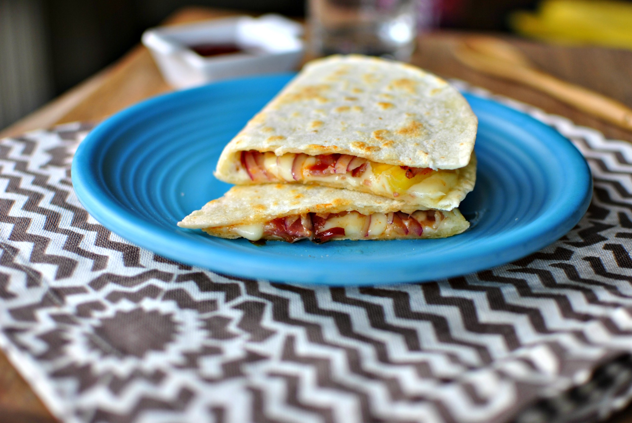 Barbecue Bacon Pineapple Quesadillas l SimplyScratch.com