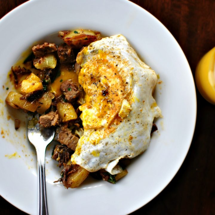 Fried Eggs over Breakfast Hash