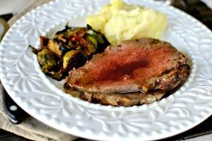 Dijon-Rosemary Prime Rib Roast with Pinot Noir Au Jus