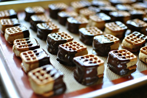 Dark Chocolate Dunked Peanut Butter Pretzel Bites l SimplyScratch.com