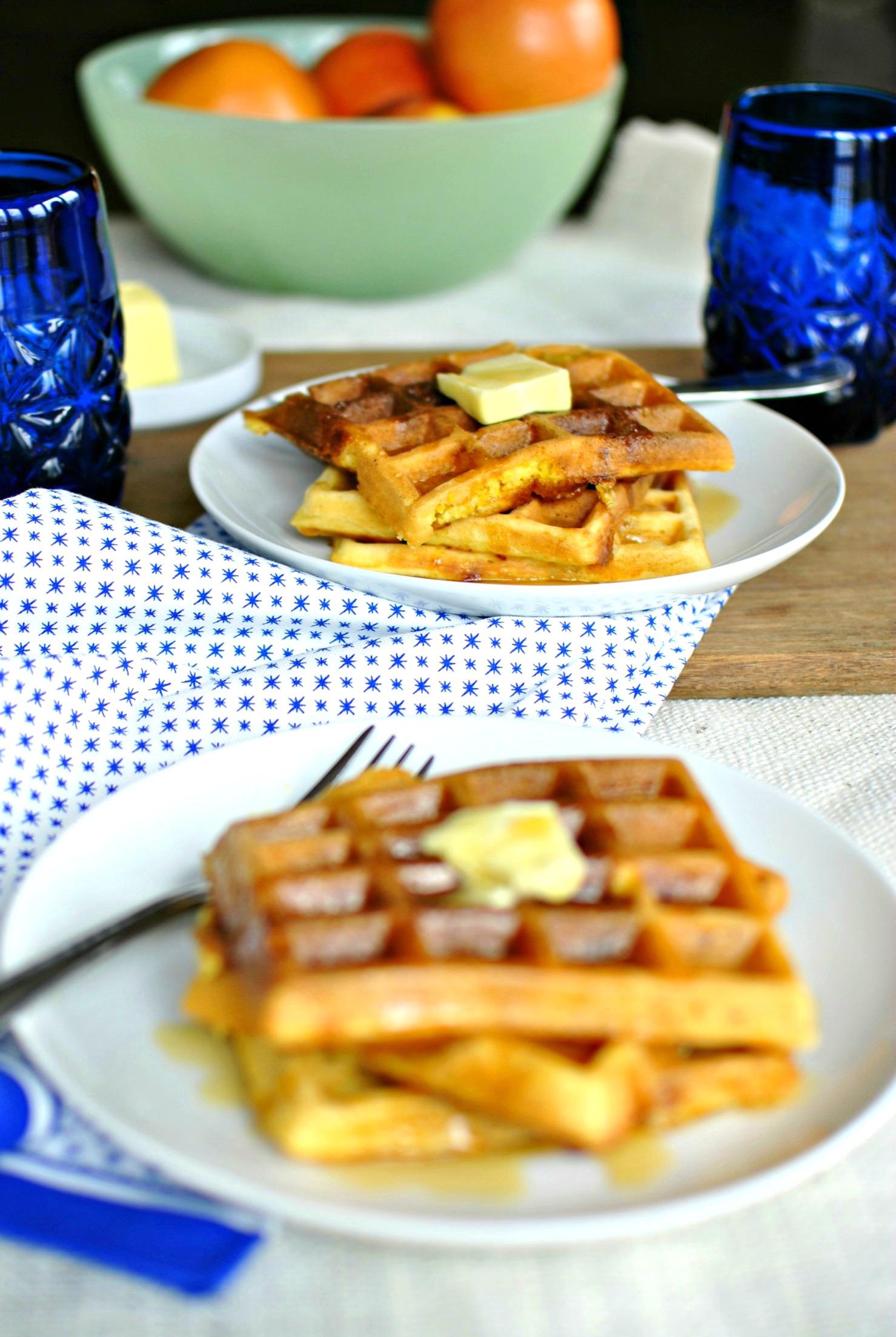 Simply Scratch Bacon & Cheddar Cornmeal Waffles 02 - Simply Scratch