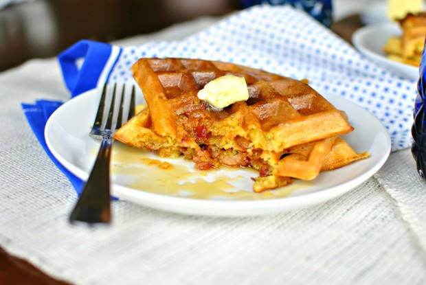 Bacon & Cheddar Cornmeal Waffles - Bite