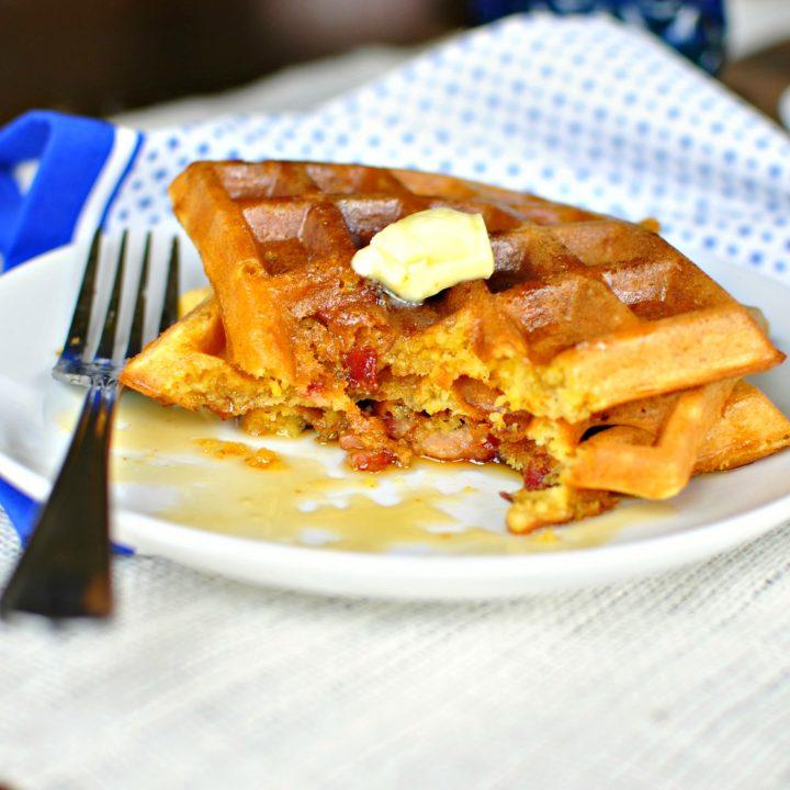 Bacon Cheddar Cornmeal Waffles