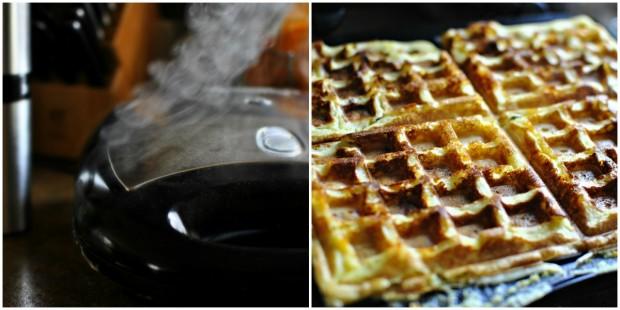 Bacon & Cheddar Cornmeal Waffles - Waffle Ironing