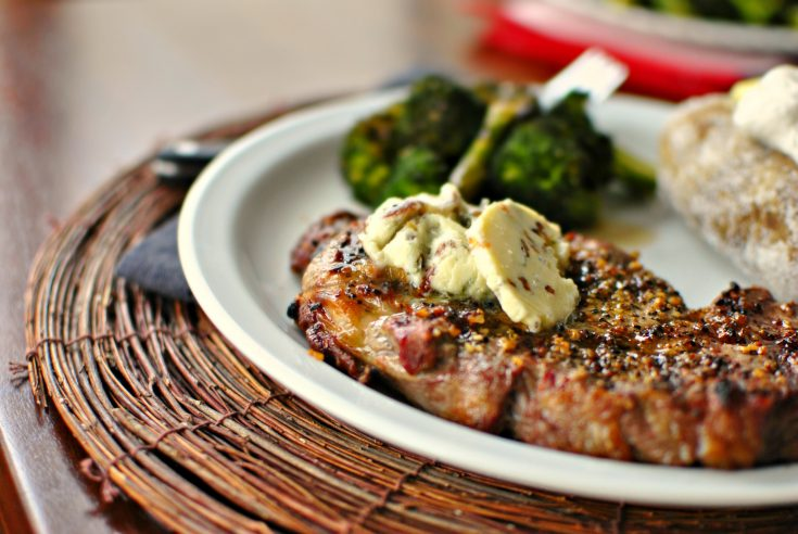 Ribeye Steaks with Caramelized Shallots and Blue Cheese Butter