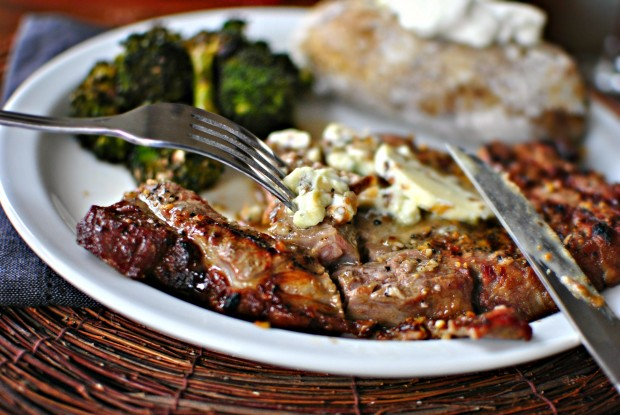 ... ribeye steak topped with caramelized shallot and blue cheese butter