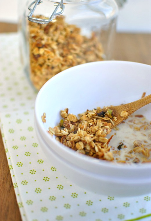 Spiced Pistachio and Toasted Coconut Granola Milk