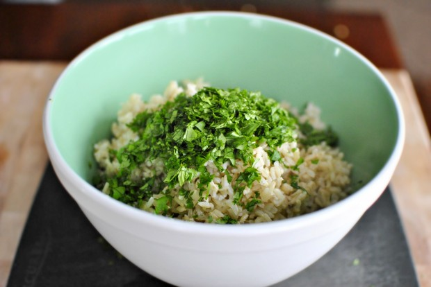 cilantro in the rice
