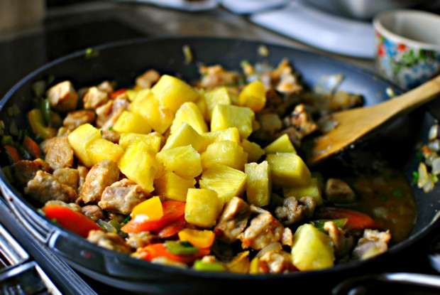 spicy-pork-teriyaki-stir-fry-pineapple-added
