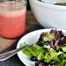 Blueberry & Pistachio Spring Salad with Pomegranate Honey Dressing
