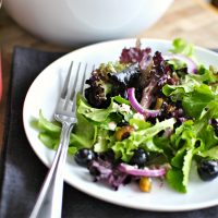 Blueberry Pistachio Spring Salad with Pomegranate and Honey Dressing