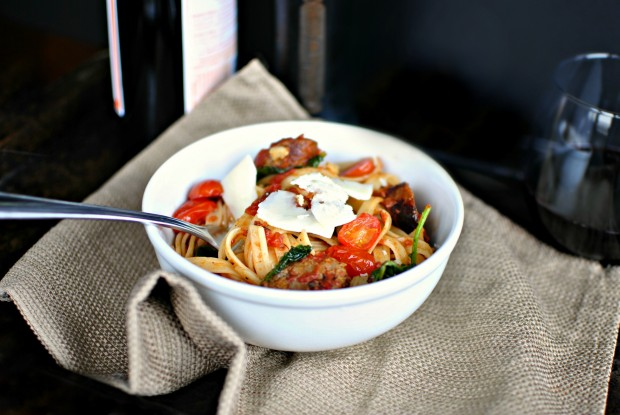 Italian Sausage, Kale and Blistered Tomato Fettuccine 1