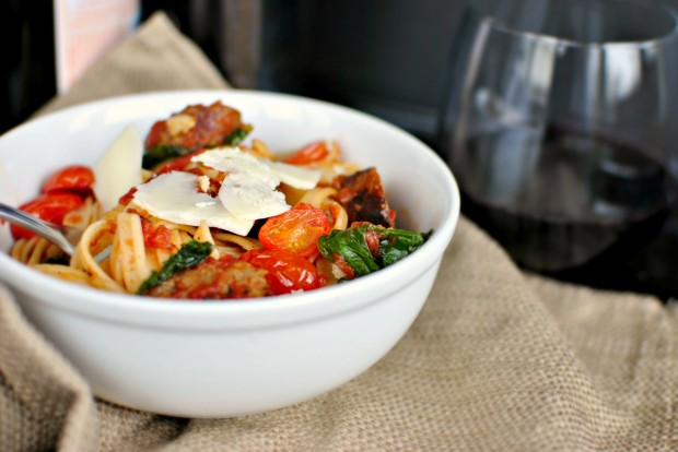 Italian Sausage, Kale and Blistered Tomato Fettuccine 3