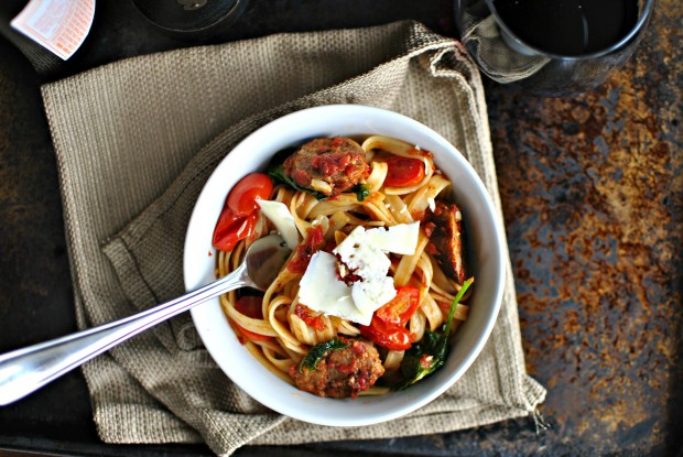 Italian Sausage, Kale and Blistered Tomato Fettuccine