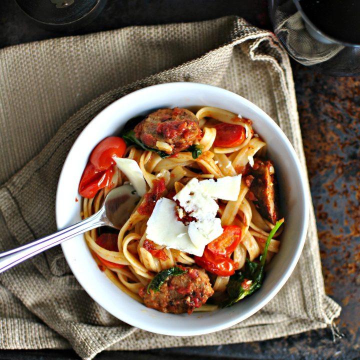 Italian Sausage, Kale and Blistered Tomato Fettuccine