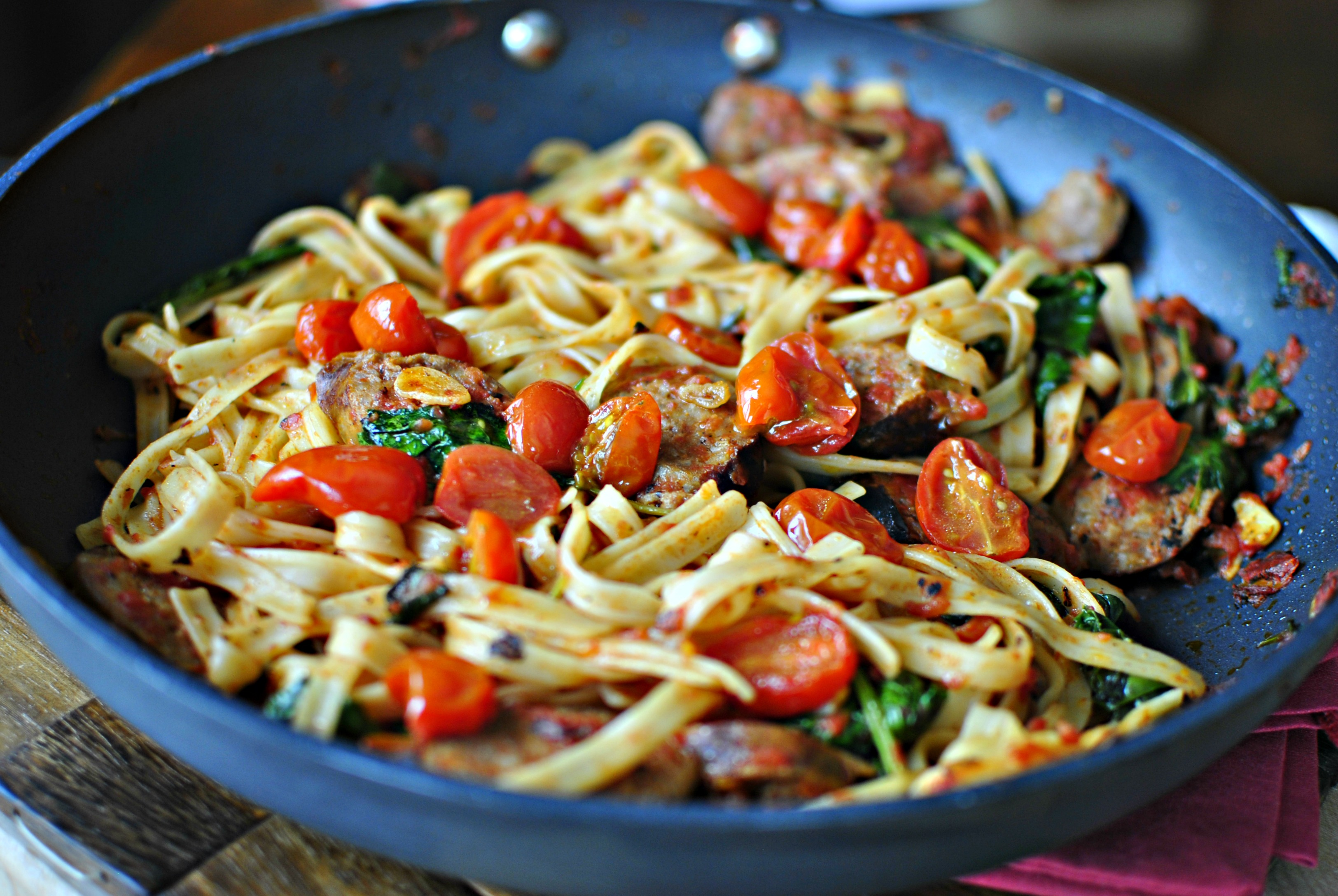 ... Italian Sausage, Kale and Blistered Tomato Fettuccine - Simply Scratch