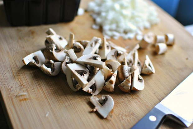 quartered mushrooms