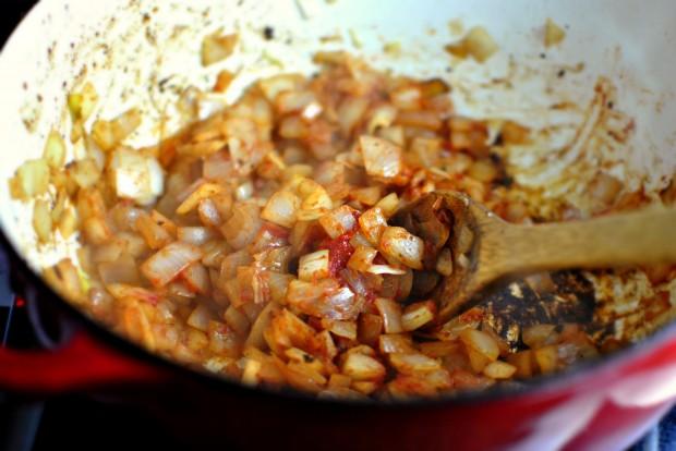 stir tomato paste