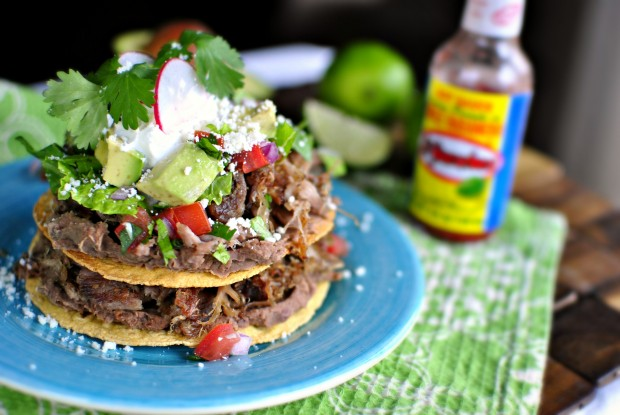 Double Decker Pork Carnitas and Refried Bean Tostadas l SimplyScratch.com