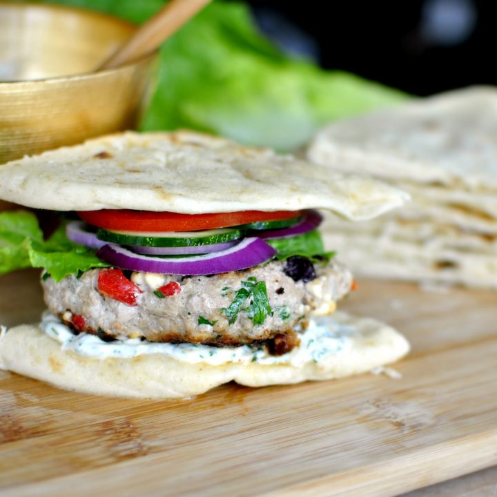 Greek-Style Turkey Burgers + Garlic Dill Mayo