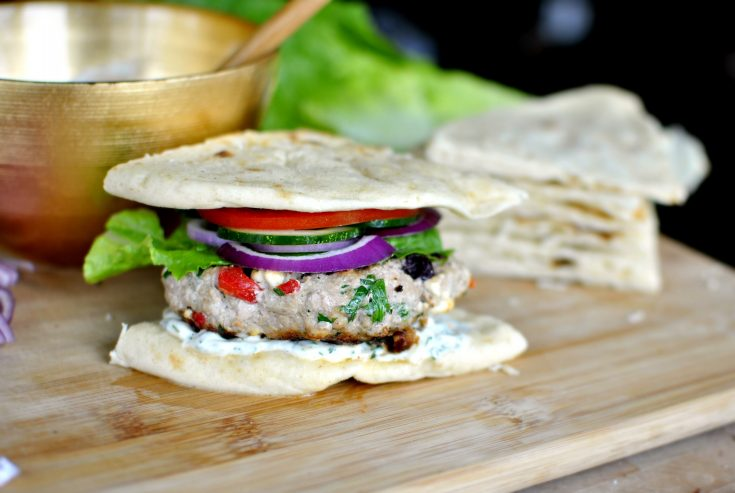 Greek-Style Turkey Burgers + Garlic Dill Mayo