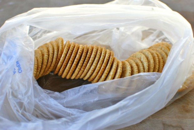place crackers in a bag